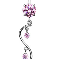 Vine Swirl Sparkle Belly Button Ring