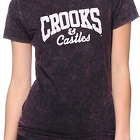 Crooks and Castles Core Logo Purple Mineral Wash Tee Shirt