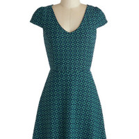 ModCloth Mid-length Cap Sleeves A-line Teal the Moment Dress