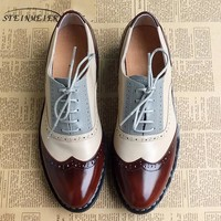 women genuine leather oxford shoes vintage handmade laces loafers
