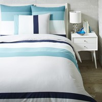 Stepped Stripe Duvet Cover + Shams - Aquamarine