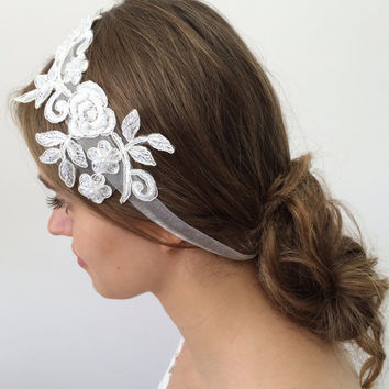 Bridal Headwrap, Wide Lace Headband, Pearls Hairwrap, Crystals Embroidery, Wedding Hairband, Bridal Headpiece, Hair Jewelry, Women's Gift