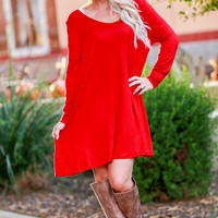 GATHER AROUND TUNIC DRESS IN RED