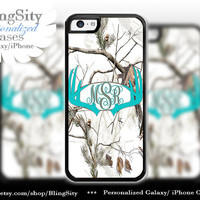 Aqua Antlers Monogram Iphone 5C case Browning iPhone 5s iPhone 4 case Ipod 4 5 case White Camo Deer Personalized Country Inspired Girl
