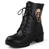 Ankle boots for women skull Lace up platform Boots