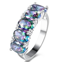 ENYA new Fashion Wedding Jewelry Rainbow Fire Mystical Synthetic Crystal Beautiful Silver Plated Ring for women