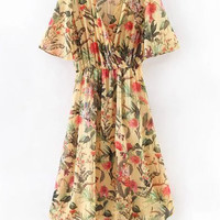 Multicolor Cross V Neck Floral Print Midi Dress -SheIn(Sheinside)