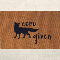 Zero Fox Given Welcome Doormat – Hand Painted Outdoor Rug – Choose your own text color - Funny Animal Mat
