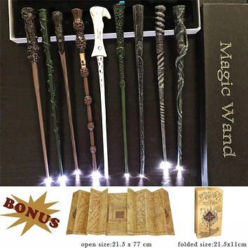 The Noble Collection Led Harry Potter Wands,Marauder's Map + Coins With Gift Box