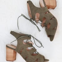 Kad Lace-Up Heel, Olive   Restricted
