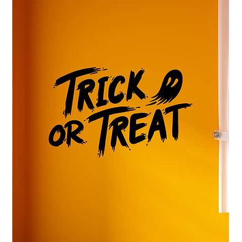 Trick or Treat V2 Wall Decal Home Decor Vinyl Art Sticker Holiday October Halloween Pumpkin Witch Ghost Scary Skull Kids Boy Girl Family