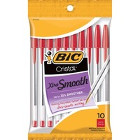 BIC Cristal Xtra Smooth Ball Pen, Medium Point (1.0mm), Red, 10 Count - Walmart.com