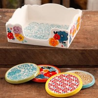 The Pioneer Woman Flea Market Stoneware Coasters And Napkin Box Set - Walmart.com