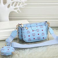 MCM new product trend full printed letters three-piece messenger bag shoulder bag mahjong bag round small wallet