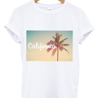 California palm tree white t shirt