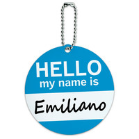 Emiliano Hello My Name Is Round ID Card Luggage Tag