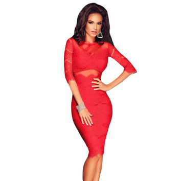 Autumn Style Women Elegant Backless Dresses Club Party Red Cutout Back Sexy Lace Mesh Full Sleeves Midi Dress Bodycon VM60707
