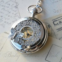 Butterfly Effect Silver Watch Necklace