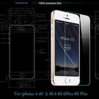 Hot new 0.26mm 9H 2.5D Real front back Tempered Glass Screen Protector film For iPhone 4 4S 5 5S 5C SE 6 6s Plus + free shipping