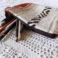 Rusty Red Orange Mexican Blanket Makeup Bag/ Pencil Pouch- Free Shipping to Continental US