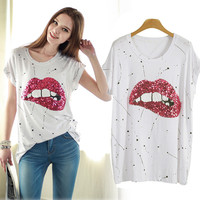 White Stain Glitter Bead Lip Print Cap Sleeve Top