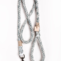 Rope dog lead pet supplies dog collar dog leash: Medium marbled forest green cotton rope leash