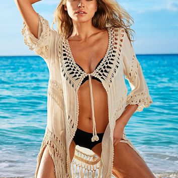 Bikini Blouse Handcrafts Beach Knit Hollow Out Jacket [11774820378]