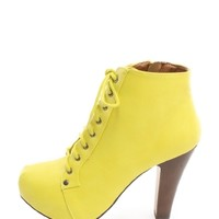 Yellow Lace Up Chunky Heeled Lita Boots | $11.50 | Cheap Trendy Boots Chic Discount Fashion for Wo