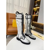 FENDI2021 Trending Women's men Leather Side Zip Lace-up Ankle Boots Shoes High Boots08210gh