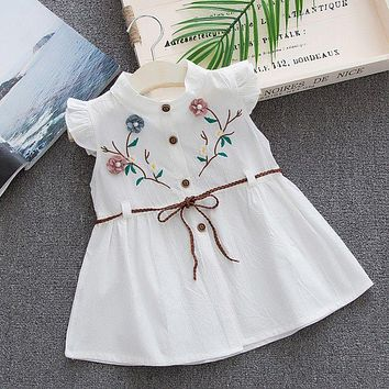 Kids Cotton Embroidered High Quality Baby Girls Dresses