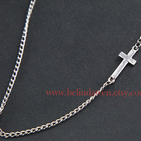 cross necklace, antique silver cross necklace, SALE