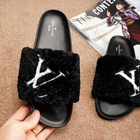 "Hot Sale ""Louis Vuitton"" LV New Popular Women Casual Fur Slipper Sandal Shoes(5-Color) Black I-ALS-XZ"