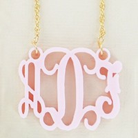 Gold-Filled Ballet Pink Acrylic Monogram Necklace