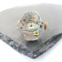 Steampunk Ring Victorian Jewellery Vintage Watch Movement Antique Black adjustable band Vitrail  Citrine Fantasy Ring mechanical