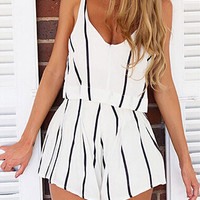 White Striped Spaghetti Strap Romper