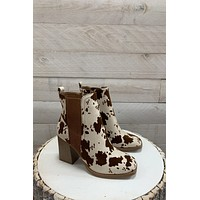 Cammy Cow Print Booties- Brown/White