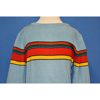 70s Blue Red Striped St. Charles Sweater Youth Small