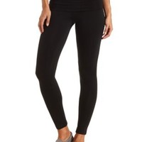 Fold-Over Skinny Yoga Pants by Charlotte Russe - Black