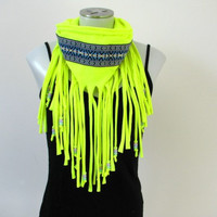 Neon Yellow Fringe Tshirt Scarf with Blue Tribal trim and beads