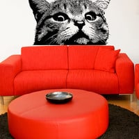 Vinyl Wall Decal Sticker Staring Cat #5475