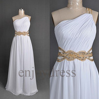 Custom Beaded One Shoulder White Long Prom Dresses Formal Evening Gowns Wedding Part Dresses Fashion Party Dress Cocktail Dresses