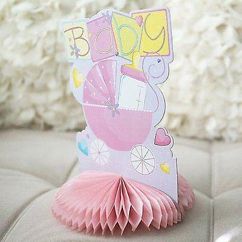 Pink Baby Stroller Carriage Baby Shower Centerpiece Honeycomb Baby Bottle