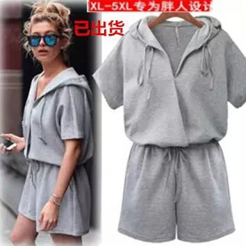 Summer Plus Size Women's Fashion Hats Slim Shaped Shorts Jumpsuit [8096651655]