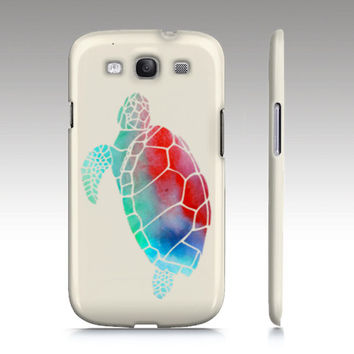 Samsung Galaxy s3 case, Galaxy S4 case, ombre watercolor turtle painting, turtle phone case, animal painting, art for your phone