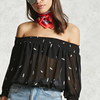 Off-The-Shoulder Feather Top