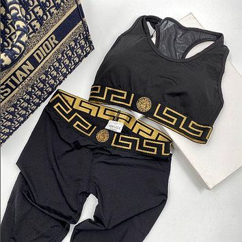 Onewel Versace Two-Piece Suit Cotton Bralette  Tank Leggings Sports Yoga Set Black Gold