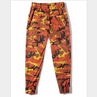 Camouflage street military wind Street dance pants camouflage tooling trousers Orange camouflage