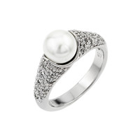 .925 Sterling Silver Rhodium Plated Pearl Ring: Size:5