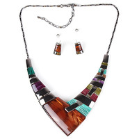 Gunmetal Plated Multi Color V-Cut  Necklace and Earrings