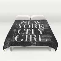 New York City Girl Black & White Skyline Vogue Typography Duvet Cover by RexLambo
